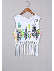 Dames Eenvoudig T-shirt,Uitgaan Bloemen Ronde hals Mouwloos Katoen