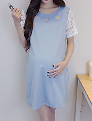 Maternity Summer Wear Fashionable Sweet  Hollow Out Love Lace Wash Water Cowboy Joining Together  Leisure Pregnant Women Dress