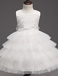 Ball Gown Knee-length Flower Girl Dress - Lace Satin Tulle Jewel with Bow(s) Lace