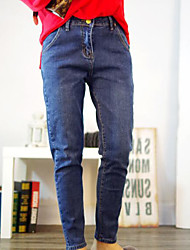 Women's High Rise strenchy Jeans Pants,Simple Harem Solid