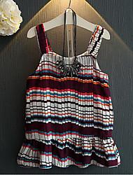 Girl's Beach Plaid Dress,Cotton Summer Sleeveless