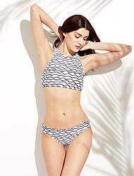 Women's Bandeau Bikini Polyester Black and White