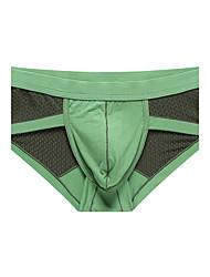 Patchwork Boxers Underwear,Polyester Ice Silk