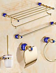 Contemporary Blue Diamonds Gold Brass 5PCS Bathroom Accessory Set  Towel Shelf Towel Bar Towel Ring Brush Paper Holder