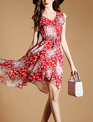 Women's Going out Beach Street chic Slim A Line Chiffon Dress Print V Neck Asymmetrical Short Sleeve Polyester Red Summer