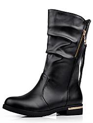 Women's Boots Winter Comfort Leatherette Dress Casual Low Heel Zipper Tassel Dark Brown Black
