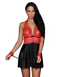 Women's Red Sheer Lace Bodice 3pcs Satin Flare Babydoll