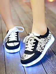 Feminino-Tênis-Solados com Luzes Light Up Shoes-Rasteiro-Preto Marron-Courino-Casamento Ar-Livre Escritório & Trabalho Social Casual Para