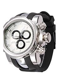 Men's Fashion Watch Quartz Silicone Band Black