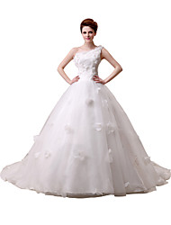 Ball Gown Wedding Dress Vintage Inspired Sweep / Brush Train Floor-length One Shoulder Lace Tulle withFlower Sash / Ribbon