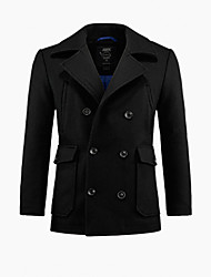 Men's  Black Classical Permium Brief Paragraph Cloth Coat/68152301001