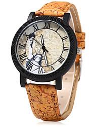 Women's Dress Watch Fashion Watch Wood Watch Chinese Quartz Wood Band Vintage Cartoon Unique Creative Beige