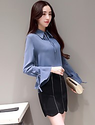 Women's Work Simple Shirt Skirt Suits,Solid Shirt Collar Inelastic