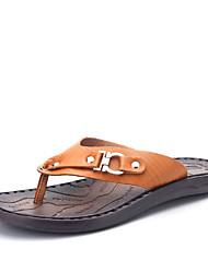 Men's Slippers & Flip-Flops Spring Summer Comfort PU Casual Flat Heel Beading Dark Brown Brown