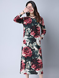Women's Casual/Daily Simple Loose Dress,Floral Round Neck Maxi Long Sleeve Cotton Spring Low Rise Inelastic Thin