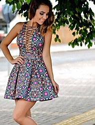 Women's Party Sexy A Line Sheath Dress,Floral Deep V Above Knee Short Sleeve Polyester Summer Mid Rise Micro-elastic Thin