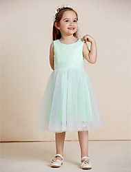 A-line Knee-length Flower Girl Dress - Tulle Sequined Jewel with Draping Sequins