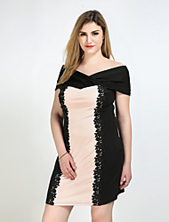 Really Love Women's Plus Size Casual/Daily Party Sexy Vintage Cute Shift Sheath Lace Dress,Color Block Strap Knee-length Short SleevePolyester