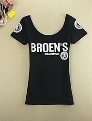 Damen Buchstabe Einfach Lässig/Alltäglich T-shirt,Rundhalsausschnitt Kurzarm Baumwolle