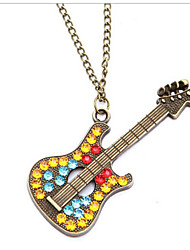 Exaggerated Guitar Gift Rhinestone Euramerican Vintage Long Pendant Sweater Chain Necklace Women Office Lady Jewelry