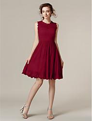 Lanting Bride® Knie-Länge Spitze Transparent / Mini Me Brautjungfernkleid - A-Linie / Prinzessin Schmuck Übergröße / Zierlich mit
