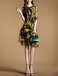 Damen Chiffon Kleid-Ausgehen Party/Cocktail Street Schick Druck Patchwork Rundhalsausschnitt Asymmetrisch ½ Länge Ärmel PolyesterFrühling