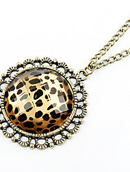 Euramerican Leopard Round Sweater Chain Pendant Necklace Vintage Jewelry