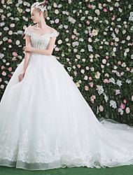 Princess Bateau Cathedral Train Lace Tulle Wedding Dress with Crystal Beading