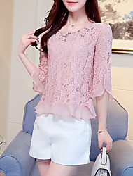 Women's Going out Casual/Daily Sexy Simple Summer Blouse,Solid Round Neck ¾ Sleeve Silk Cotton Opaque