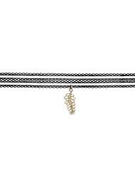 Fashion Women Trendy Metal Leaf   Lace Choker  Pendant Necklace