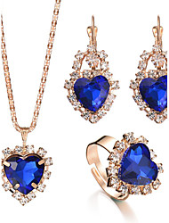 2017 Elegant Charm Luxurious Bridal Jewelry Sets Rhinestone Crystal Gem Heart Pendant Necklace Earrings Rings Sets Wedding Accessories
