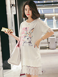 Maternity Summer Wear Fashionable Sweet Fashion  Cartoon Rabbit Pearl Lace Stitching  Leisure Pregnant Women Dress