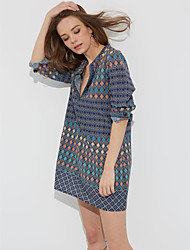 Ample Robe Femme Décontracté / Quotidien simple,Imprimé Col en V Mini Manches Longues Bleu Polyester Toutes les Saisons Taille Basse