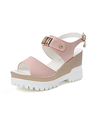 Women's Sandals Club Shoes PU Spring Summer Casual Dress Club Shoes Beading Buckle Wedge Heel White Blushing Pink Light Blue 3in-3 3/4in
