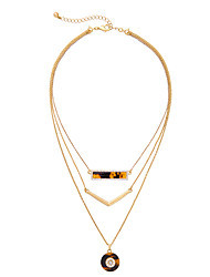 Women's Layered Necklaces Round Chrome Unique Design Gold Jewelry For Gift Daily 1pc