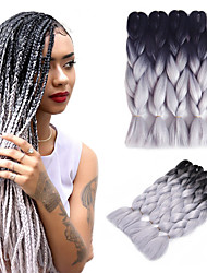 1B/Gray Ombre Jumbo Braid Hair Extension Kanekalon Fiber for Twist Braiding Hair 500g/pack