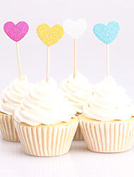 10pcs lovely heart birthday decorations cupcake toppers picks Kids party decoration baby shower paper glitter cup cake topper