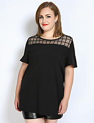 Really Love Women's Plus Size Casual/Daily Holiday Sexy Vintage Simple Spring Summer T-shirt,Solid Check Round Neck Short Sleeve Polyester Opaque