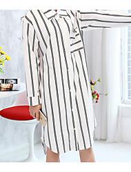 Women Chemises & Gowns Nightwear,Print Solid-Medium Cotton White Women's