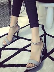 Feminino-Saltos-Sapatos clube Sapatos formais-Salto Agulha-Preto Cinzento-Couro Ecológico-Escritório & Trabalho Casual