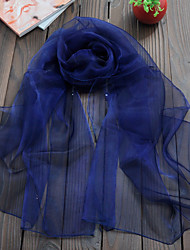 Women Scarf Cute Party Casual Rectangle Navy Blue/Green/Army Green Solid Scarves Organza