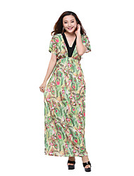 Women's Plus Size Casual/Daily Holiday Loose Swing Dress,Print Deep V Maxi Short Sleeve Polyester Summer High Rise Micro-elastic Thin