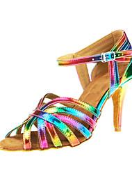 Sapatos de Dança(Arco-íris) -Feminino-Personalizável-Latina