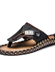 Men's Slippers & Flip-Flops Summer Comfort PU Outdoor Flat Heel Brown Black Walking