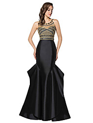Mermaid / Trumpet Jewel Neck Floor Length Satin Chiffon Formal Evening Dress with Beading by Sarahbridal