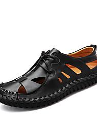 Для мужчин Сандалии Светодиодные подошвы Кольцевые обувь Кожа Весна Лето Для офиса Повседневный На плоской подошве Черный КоричневыйНа