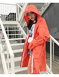 Women's Going out Street chic Spring Coat,Solid Hooded Long Sleeve Long Cotton