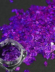 1 garrafa nova forma unha arte diy beleza brilho deslumbrante paillette decoração romântico projeto roxo escuro rhombus laser listra fino