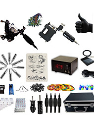 Complete Tattoo Kit G2R3A2P 2 rotary machines liner & shader Lion LED power supply Ink Cups