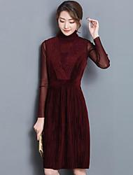 Chemisier Robes Costumes Femme,Couleur Pleine Décontracté / Quotidien simple Col Arrondi
